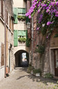 Cozy street typical italian cityscape from the little cicy torri del benaco lake garda in north italy Royalty Free Stock Photo