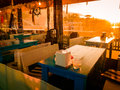 Cozy Turkish Restaurant In The Sunset Royalty Free Stock Photo
