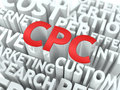 Cpc the wordcloud concept cost per click word in red color surrounded by a cloud of words gray Royalty Free Stock Images