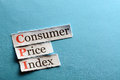Cpi abbreviation consumer price index on blue paper Royalty Free Stock Photography