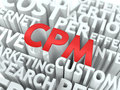 Cpm the wordcloud concept industry global standard word in red color surrounded by a cloud of words gray Stock Images