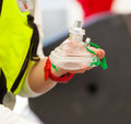 Cpr select focus hand and mask Royalty Free Stock Photo