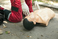 Cpr training detail first aid cardiopulmonary resuscitation Stock Photo
