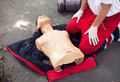 Cpr training detail first aid cardiopulmonary resuscitation Royalty Free Stock Photo