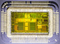 Cpu inside front view silicone core of a Stock Photography