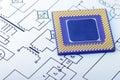 CPU-makroen pins sikt Arkivbild