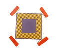 Cpu processors modern multicore processor and microcircuits on a white background Stock Photography
