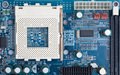 Cpu socket on blue pcb Royalty Free Stock Photo