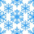 Simple seamless pattern with snowflakes on white background