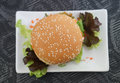 Crab and alga burger eggs meat with Stock Image