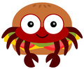 Crab burger a cartoon illustration of a inside a Stock Images