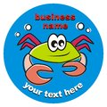 Crab business sign smiling on a blue background Stock Photos
