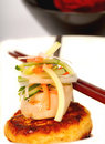 Crab cake and scallop appetizer with vegetables Royalty Free Stock Photography