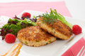 Crab cakes two appetizer garnished with spicy sauce green salad and raspbery Royalty Free Stock Photography