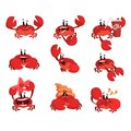 Crab character with different emotions, cute sea creature with funny face vector Illustration on a white background