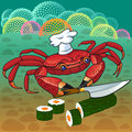 Crab chef prepares sushi in the sea Royalty Free Stock Photos