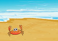 A crab crawling at the seashore illustration of Stock Photos