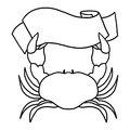 Crab Holding a Sign Outline Illustration Stock Images