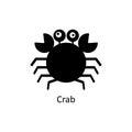 Crab icon. Silhouette vector icon