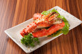 Crab pincers in the white plate Royalty Free Stock Image