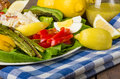 Crab salad with asparagus and eggs Royalty Free Stock Photo