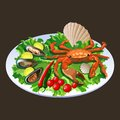 Crab in salad - vector illustration Royalty Free Stock Photos