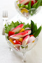 Crab stick with pepper and lettuce salad Royalty Free Stock Photo