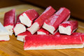 Crab sticks on the wood Royalty Free Stock Photo