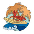 Crab surfer with flip-flops on a wave. Vector illustration. EPS10