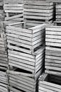 Crab traps old wood stacked up on the fishing dock Royalty Free Stock Image