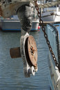 Crab winch rope on a fishing boat in charleston harbor on oregon s southcoast Stock Photography