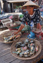Crabs fishermen selling were captured at sea in semarang central java indonesia Stock Photos