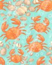 Crabs seamless background Royalty Free Stock Image