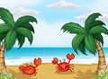 Crabs in the seashore illustration of Royalty Free Stock Images