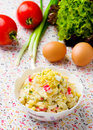 Crabsticks and mayonnaise salad. Royalty Free Stock Photo