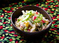 Crabsticks and mayonnaise salad. Royalty Free Stock Photo