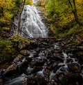 Crabtree falls surrounded by autumn foliage the trail starts at milepost of the blue ridge parkway in north carolina Stock Image
