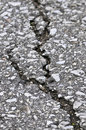 Crack in asphalt Stock Images