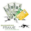 Crack with Dollar Bills and Credit Cards Stock Images