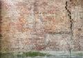 Cracked brick wall Royalty Free Stock Photo