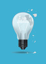 Cracked bulb, light bulb cracked. Royalty Free Stock Photo