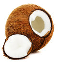 Cracked coconut white background Royalty Free Stock Photos