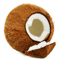 Cracked coconut white background Stock Images