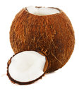 Cracked coconut white background Stock Photo
