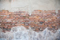 Cracked concrete vintage brick wall background Royalty Free Stock Photo