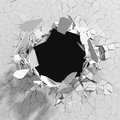 Cracked concrete wall with bullet hole. Destruction Abstract bac