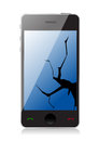 Cracked display phone Royalty Free Stock Photo