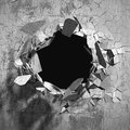 Cracked explosion concrete wall hole abstract background
