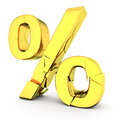 Cracked golden percentage symbol white background Stock Photo