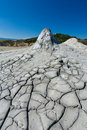 Cracked ground from muddy volcanoes in Romania Royalty Free Stock Photo